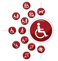 Disability icons red related icon set isolated on white background Royalty Free Stock Photo