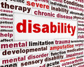 Disability medical poster design condition creative words background Royalty Free Stock Image