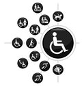 Disability related icon set isolated white background Royalty Free Stock Photo
