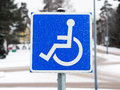 Disability sign international for access in winter Stock Photos