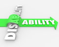 Disability vs ability overcoming physical handicap a positive attitude and determination can help you overcome your and turn a Stock Image