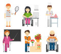 Disability young workers isolated on white background. Handicapped people at work, disabled occupations in wheelchair