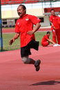Disabled athletes doing exercises in the stadium the city of solo central java indonesia Royalty Free Stock Photography
