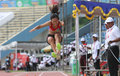 Disabled athletes long jump compete in solo central java indonesia Royalty Free Stock Photo