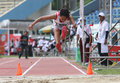 Disabled athletes long jump compete in solo central java indonesia Royalty Free Stock Photos