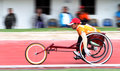 Disabled athletes perform exercises as preparation for the game in solo central java indonesia Royalty Free Stock Photo