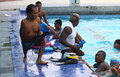 Disabled athletes swimming practice in training camp in solo central java indonesia Stock Photos