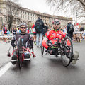 Disabled athletes taking part in stramilano milan italy march take traditional half marathon through the city streets on march Royalty Free Stock Photography