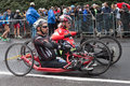 Disabled athletes taking part in stramilano milan italy march take traditional half marathon through the city streets on march Royalty Free Stock Images