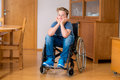 Disabled boy in wheelchair Royalty Free Stock Photo