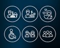 Disabled, Business growth and Cleaning service icons. People communication, Love and Group signs.
