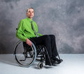 Disabled business man in wheelchair Royalty Free Stock Photo