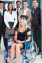 Disabled businesswoman team optimistic young and Stock Images