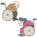 Disabled elderly people an image of Stock Image