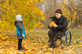 Disabled grandfather and child in an autumn park confined to a wheelchair playing with his cute little grandson wrapped up against Royalty Free Stock Images