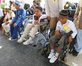Disabled kids doing fashion show in solo central java indonesia Stock Image