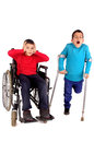 Disabled kids in white Stock Photography