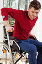 Disabled man with crutches Royalty Free Stock Photo