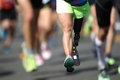 Disabled marathon runner a is running Royalty Free Stock Photo