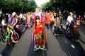 Disabled parade school students with disabilities follow the traditional dress in the city of solo central java indonesia Stock Photos