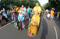 Disabled parade school students with disabilities follow the traditional dress in the city of solo central java indonesia Stock Images