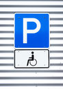 Disabled parking sign outdoors photo Royalty Free Stock Photography