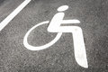 Disabled parking sign outdoors photo Stock Photos