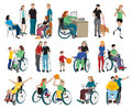 Disabled People Icons Set Royalty Free Stock Photo