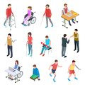 Disabled people isometric. Persons with injury in wheelchair, with prosthetic limbs, blind and elderly people. Vector