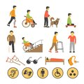 Disabled people and necessary equipments with signs poster