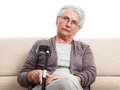 Disabled person with crutch old woman with sad expression indoor isolated on white Stock Photo