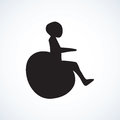 Disabled person in the stroller. Vector drawing