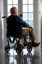 Disabled Senior Man In Wheelchair Stock Photography