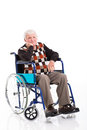 Disabled senior man wheelchair sad sitting on a over white background Royalty Free Stock Images