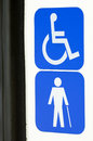 Disabled signs wheelchair and blind sign at a bus Stock Photography