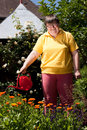 Disabled woman with a  pot pours flowers Royalty Free Stock Images