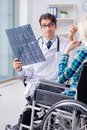 The disabled woman in wheel chair visiting man doctor