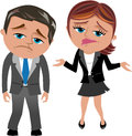 Disappointed business woman and man cartoon meg bob for not achieving goals isolated on white background you can find other Royalty Free Stock Photography