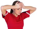 Disappointed football fan in red on white background Stock Image