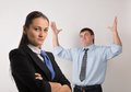 Disappointed two young caucasian office worker get mad Royalty Free Stock Images