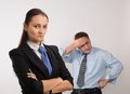 Disappointed two young caucasian office worker get mad Stock Images