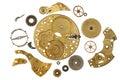 Disassembled clockwork mechanism - various part of clockwork mechanism Royalty Free Stock Photo