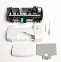 Disassembled printer on a white background Royalty Free Stock Photo