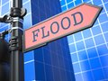 Disaster concept flooding ahead roadsign flood red arrow on blue background Stock Images