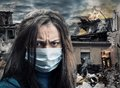 Disaster concept women weared gauze mask Stock Photos