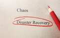 Disaster recovery red pencil circle around text Stock Photography