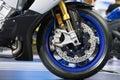 Disc brake of modern motorcycle's front wheel Royalty Free Stock Photo