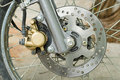 Disc brake part of motorbike of motorcycle Royalty Free Stock Images