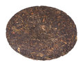 Disc of chinese puer tea isolated on white background Royalty Free Stock Photography