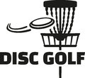Disc golf with basket and frisbee Royalty Free Stock Photo